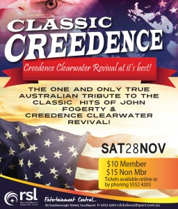 Classic Creedence playing at RSL CLub SOuthport on Sat 28 Nov
