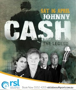 Johnny Cash show tribute performing at RSL Club Southport on Sat 16th April. Tickers from $10 phone 07 5552 4203